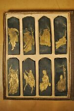 8 VINTAGE JAPANESE / CHINESE SUMI INK STICKS / SHODO CALLIGRAPHY w GOLD LEAF