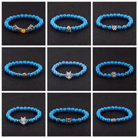 Natural Gemstone Healing Reiki Buddha Beaded Bracelets 8mm Blue Turquoise Beads