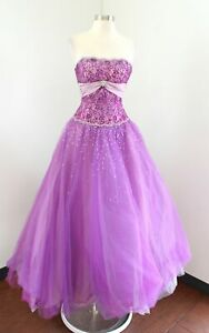 Joli Prom Pink Purple Strapless Lace Ball Gown Formal Princess Dress Lace Size 2