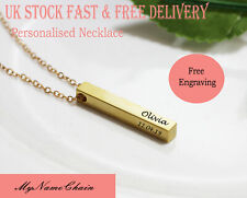 Personalised Engraved Womans Jewellery Bar Necklace Gold Plated Birhtday Gift