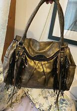 BOTKIER MORGAN Fringed GOLD Leather Large HOBO Purse Handbag Tote Satchel unique
