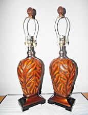 LAMPS A PAIR HOTEL STYLE FANCY 3-WAY CARVED WOOD & CERAMIC TABLE LAMPS HIGH END