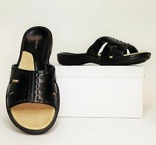 Croft & Barrow Hepburn Black Open Toe Slide Mule Comfort Sandals Shoes 7M (S301)