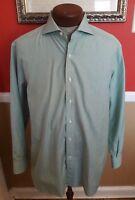 DOLCEPUNTA Men's Striped Green White L/S Button-Down Shirt Size 17.5  44