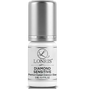 DIAMOND SENSITIVE Eyelash Extension Glue Black 5 ml LONRIS | No Fume | 3-4 Weeks
