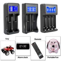 2/4 Slot USB Smart Battery Charger LCD Display Fr AA/AAA Li-ion/NiCd/NiMh 18650·