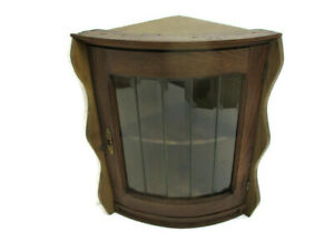 Corner Cabinet Beveled Glass Door China Display  Carved Wood Gorgeous  Vintage
