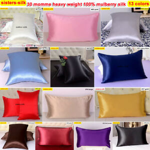 1pc 30 Momme 100% Mulberry Silk Pillow Cases Covers Pillowcases Zippered Size