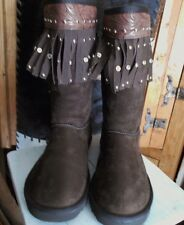 WESTERN DESIGN COLD WEATHER FLEESE LINED BROWN BOOTS COWGIRL WINTER FOOT WEAR 6