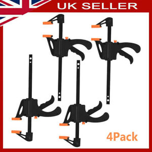 """UK Stock 4 X 4'' 6"""" 12"""" Wood Working F Clamp Grip Ratchet Quick Release Squeeze"""