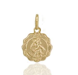 375 9ct Gold St Christopher Charm Pendant - Scallop Edge.