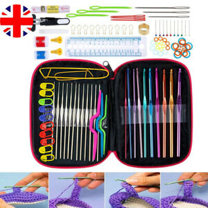 100Pcs/Set Multi Coloured Crochet Needles Hook Set Aluminium Case Soft Grip Tool