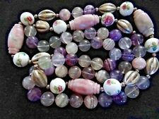 Chinese Stone Bead Necklace Amethyst Quartz Rock Crystal Porcelain Silver