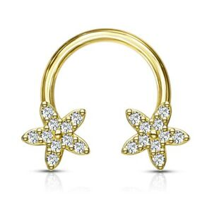 16G 8MM JEWELED FLOWERS SURGICAL STEEL HORSESHOE RING CIRCULAR BARBELL