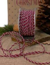5m Schleifenband (0,38€/m)Satinkordel und Perlenband gold weinrot Weihnachten R3