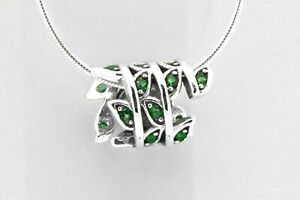 Sterling Silver Art Deco Green Emerald Leaves Fine Floral Plant Pendant Necklace
