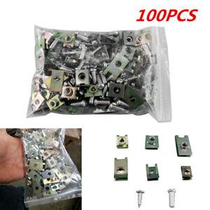 100PCS Metal Auto Fastener Mixed U-Nuts Screws Set for Car Body Door Panel Trims