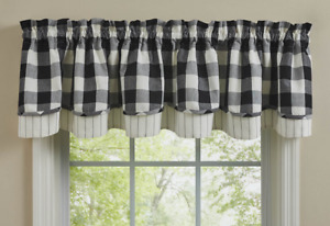 """Park Designs WICKLOW Layered, Lined Farmhouse Valance 72""""x16"""" Black, Ivory"""