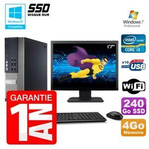 """PC Dell 7010 SFF Intel I3-2120 RAM 4Go Disque 240Go SSD DVD Wifi W7 Ecran 17"""""""