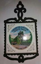 Gillette Castle Park CONN.Vintage Cherry Tile Cast Iron Trivet Ceramic Hot Plate