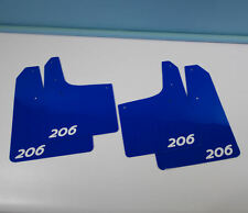 Rallyflapz 4mm PVC Mudflaps Peugeot 206 GTi Blue with 206 Logo in White