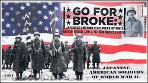 21-149, 2021,Go for Broke, First Day Cover, Pictorial Postmark, Japanese America