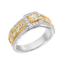 Fine 2.19ct Natural Fancy Yellow Diamonds Engagement Ring 18K Solid Gold