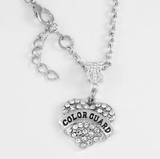 Colorguard Necklace Crystal Heart Charm Necklace jewelry