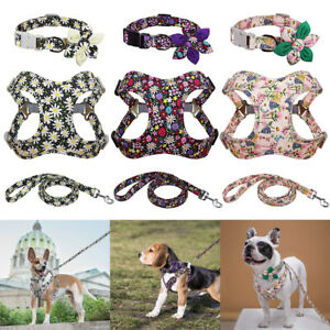 Floral French Bulldog Dog Harness and Collar and Leash Adjustable Pet Soft Vest