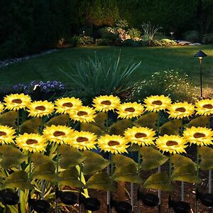 LED Outdoor Sunflower Solar Power Garden Decor Yard Stake Lights Patio Backyard