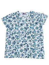Womens Fashion Medical Nursing Scrub Print Tops White Base Blue Green Shapes S