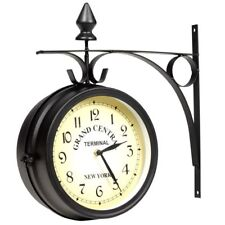 Retro Style Two-sided Wall Mounted Clock Vintage Home Office Garden Clock Black