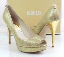 Michael Kors York Evening Platform Open Toe Pumps Heels Gold Glitter Size 7.5
