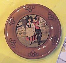 Ancien Souvenir Alsace Alsacienne Assiette Bois Costume Traditionnel Vintage