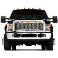 08-10 Ford Super Duty Raptor Chrome Front Hood Mesh Grille+Shell+Amber 3x LED
