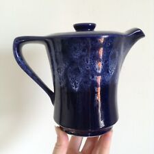 Strikingly Blue 1pt Vintage Rare Kernewek Teapot - Honeycomb Drizzle White Top