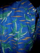 REYN SPOONER 3X BF Blue WHALE WATCH New NWT Hawaiian Camp Shirt NAUTCAL FISHING