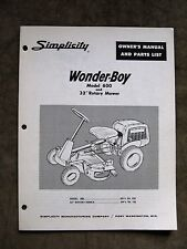 Simplicity WonderBoy Model 600 Riding Tractor Instruction Manual Parts List