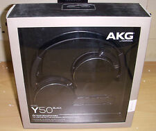 AKG Y50 BLACK FOLDABLE HEADPHONES, IN-LINE MIC MICROPHONE CARRY POUCH OPEN BOX