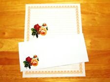 Victorian Roses Stationery Writing Set With Envelopes - Lined Stationary