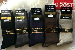 6 MENS Pairs 6-11 80% Merino Wool Warm Thermal Woolen Hiking Dress Socks Bulk