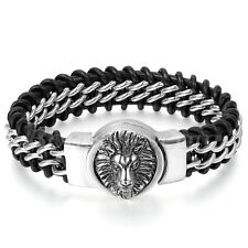 Men Biker Heavy Wide Braided Genuine Leather Stainless Steel Lion Chain Bracelet