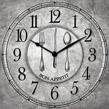 Orologio Da Per Parete BUON APPETITO In Legno 30x30 cm a Batteria Grigio