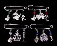 Zodiac Kilt Pin Brooch / Bag Charm - With Chosen Initial - Perfect Gift!
