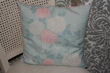 Cushion Cover Made In Laura Ashley mori, duck egg with pink dotty reverse