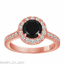 1.68 CARAT ENHANCED FANCY BLACK AND WHITE DIAMOND ENGAGEMENT RING 14K ROSE GOLD