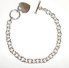 """Link Anklet (Med 10"""") Sterling Silver Heart Charm Toggle"""