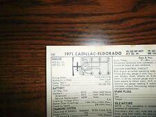 1971 Cadillac & Eldorado Series Models 472 & 500 Ci V8 Tune Up Chart Sheet
