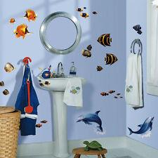 RoomMates Wandsticker Fische Delfine Bad Fliesen Deko Unterwasserwelt Delfin