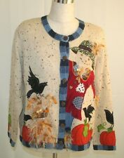 DESIGN OPTIONS Philip Jane Gordon FALL AUTUMN SCARECROW SWEATER M EUC PUMPKINS